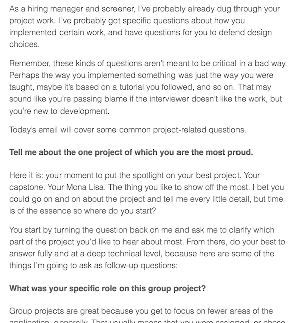 A sample of text from a prep email showing how I might ask questions about your project portfolio